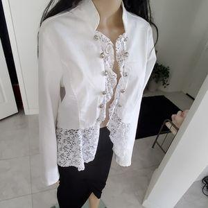 White lace trim denim jacket L perfect